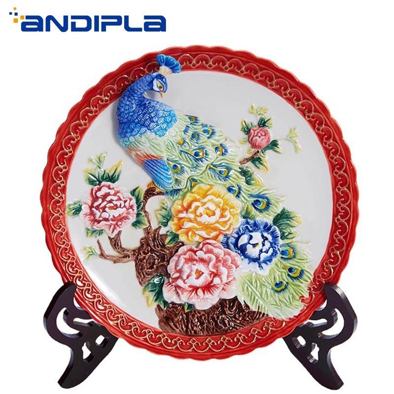 10 inch Chinese Decoration Plate Creative Design Emboss Peacock Peony Flower Art Adornment Wall Hanging Dish Wedding Ornaments