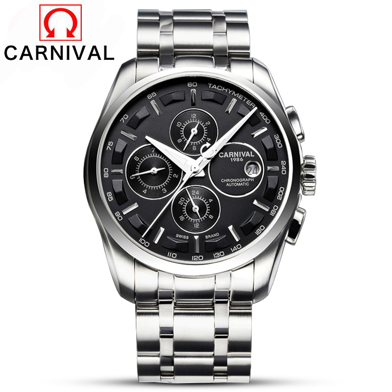 Здесь продается  2016 Automatic Watch Men Switzerland Watches Top Luxury Brand Watch Carnival Steel Strap Mechanical Watch Waterproof Relogio  Часы