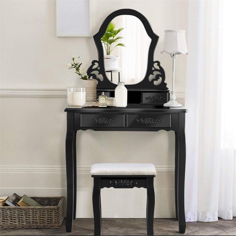 Pin bois vanité maquillage coiffeuse tabouret ensemble avec un miroir 4 tiroirs haute qualité MDF panneau bois jambe fleur motif Tables