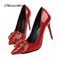 Plardin Mujeres Punta estrecha Bombas de la Boda Zapatos Rojos Mujer Mujeres Tacones Finos inferiores Tacones Altos Zapatos de Novia Elegantes Del Partido Sexy bombas