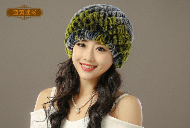 2016 Real Dl-10818 New Style Genuine Knitted Rex Rabbit Fur Hat Natural Stripe Caps Fashion Women Beanie Headgear Various Color