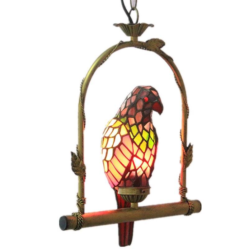 Suspension tiffany petit perroquet en verre teinté salle à manger suspension bohème lampe pour chambre d'enfant joli luminaire suspendu