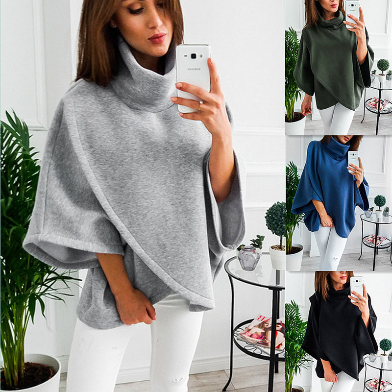 Woman Solid Sweatshirts Ladies Autumn Winter Clothing Classics Fashion Casual Flare Sleeve Stand Sports Shirts in Hoodies amp Sweatshirts from Women 39 s Clothing