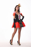 free shipping 2015 halloween Costumes for women Alice In Wonderland party adult Queen of Hearts Costume fancy Dress wholesale