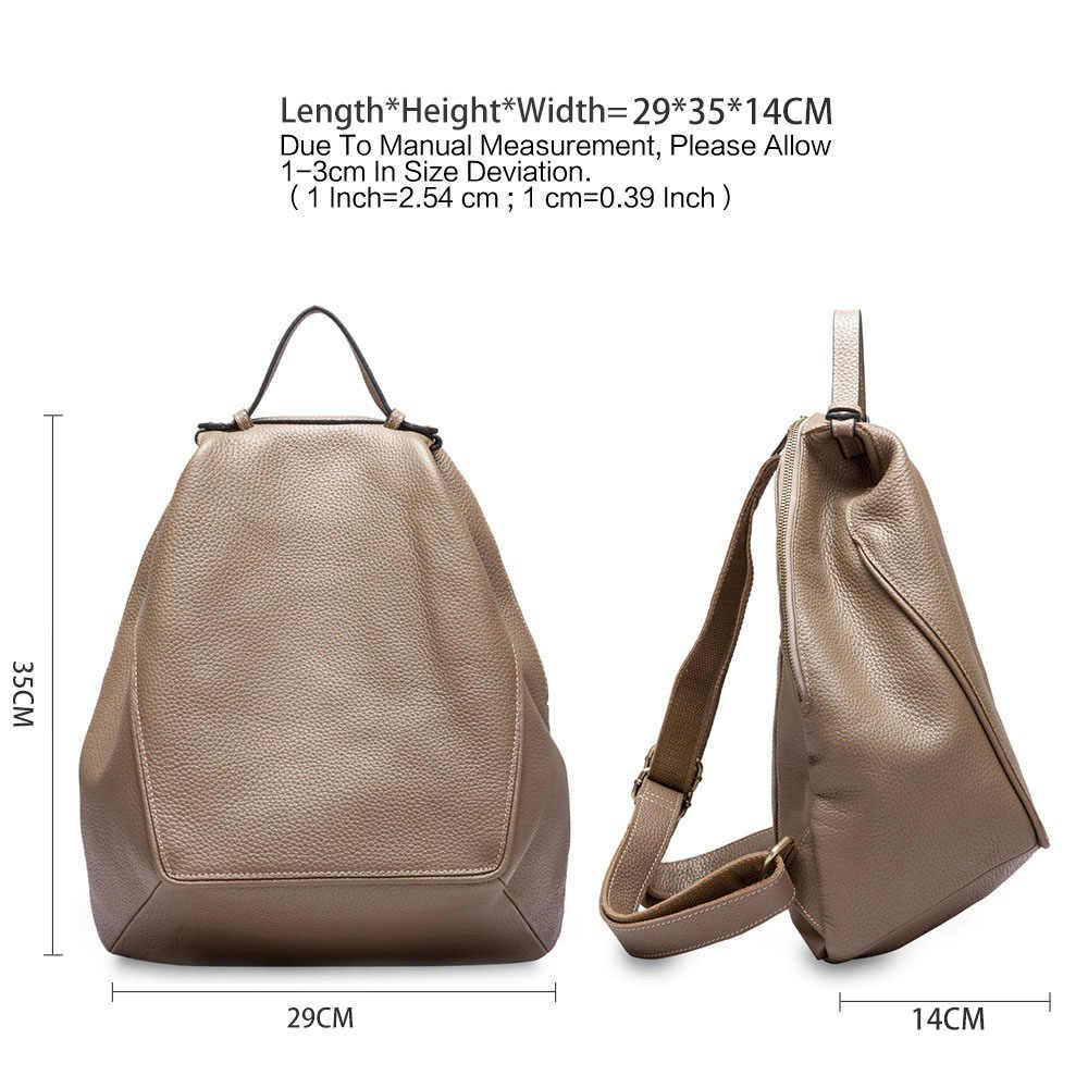 Zency новая модель 100%, женский рюкзак из натуральной кожи, большая дорожная сумка, необычный Овальный Повседневный ранец для девочек, школьный рюкзак цвета хаки