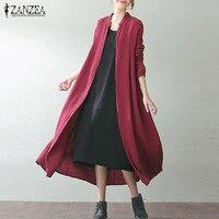 Plus Size ZANZEA Women Solid Brief Work Cardigan Cotton Linen Autumn Baggy Buttons Down Long Sleeve