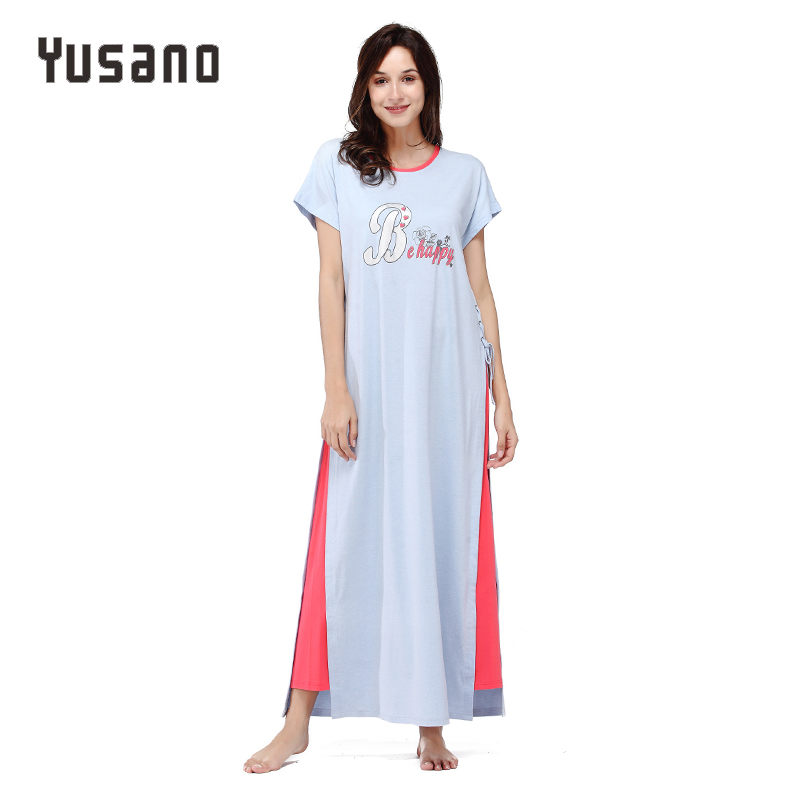Yusano Women Nightgown Long Cotton Nightshirt Plus Size Short Sleeve Nightdress Casual Home Clothes Sleepwear Dress Letter Print pregnant women long nightdress women sleep nightshirt winter flannel thickening long nightgown maternity