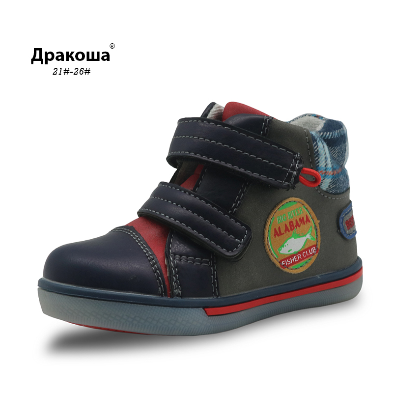 Apakowa Boys Spring Autumn Ankle Boots Toddler Kids Martin Boots For Children Fashion Hook And Loop Boot With Arch Support