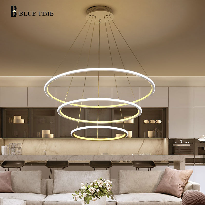 Circle 3 Rings Led Pendant Light For Home Living room Kitchen Dining room Coffee Lamp Simple Led Pendant Lamp Luminarie de techo acrylic rings modern led pendant light for dining room living room lamparas de techo indoor home led pendant lamp hanging lamp