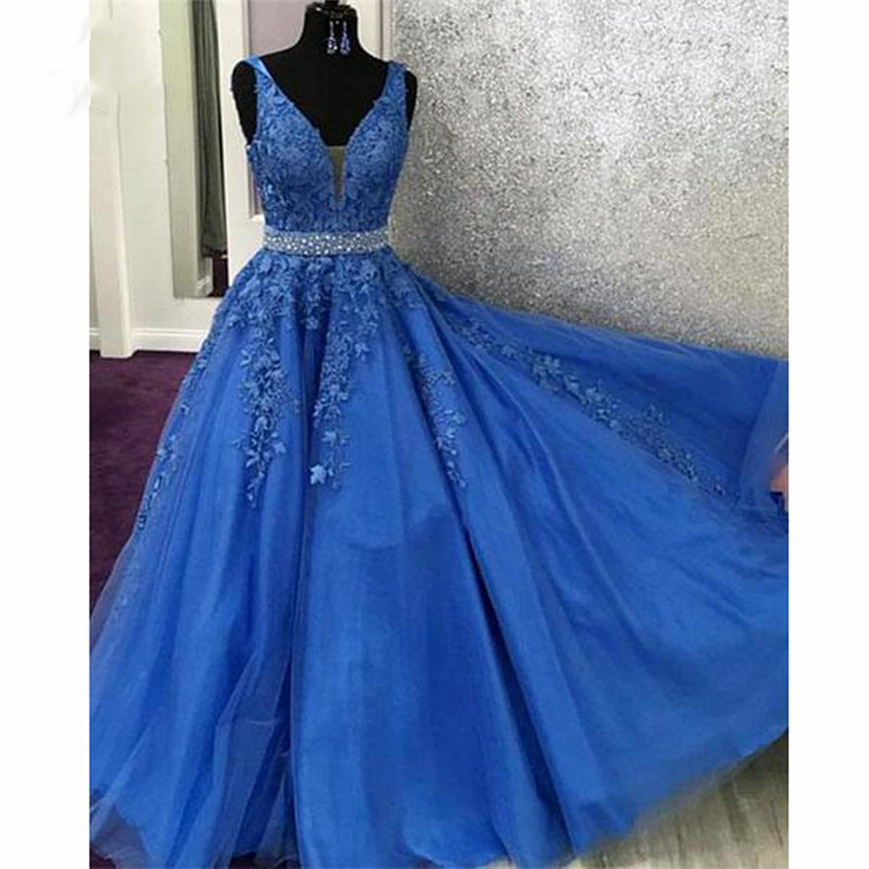 2019 Blue Elegant Evening Dresses Pageant Prom Dress with Appliques Crystals Tulle Long Women Evening Dresses