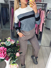 Autumn Winter Women Stripe Splicing Hit Color Knitted Sweater Pullovers And Pant 2PCS Casual Patchwork Tracksuits Female Clothes