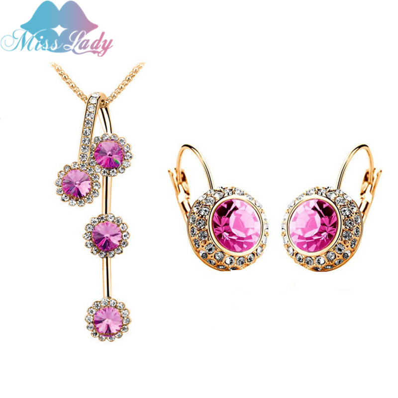 Miss Lady Gold color Crystal design Round Moon river Crystal Jewelry Sets Wholesales Fas ...