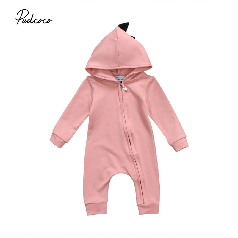 Newborn Baby Boys Girls 3D Dinosaur Hooded Romper Cotton Zipper Long Sleeve Jumpsuit Playsuit Kids One-Piece Outfits Clothes New 2017 summer toddler kids girls striped baby romper off shoulder flare sleeve cotton clothes jumpsuit outfits sunsuit 0 4t