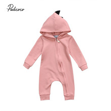 Newborn Baby Boys Girls 3D Dinosaur Hooded Romper Cotton Zipper Long Sleeve Jumpsuit Playsuit Kids One-Piece Outfits Clothes New