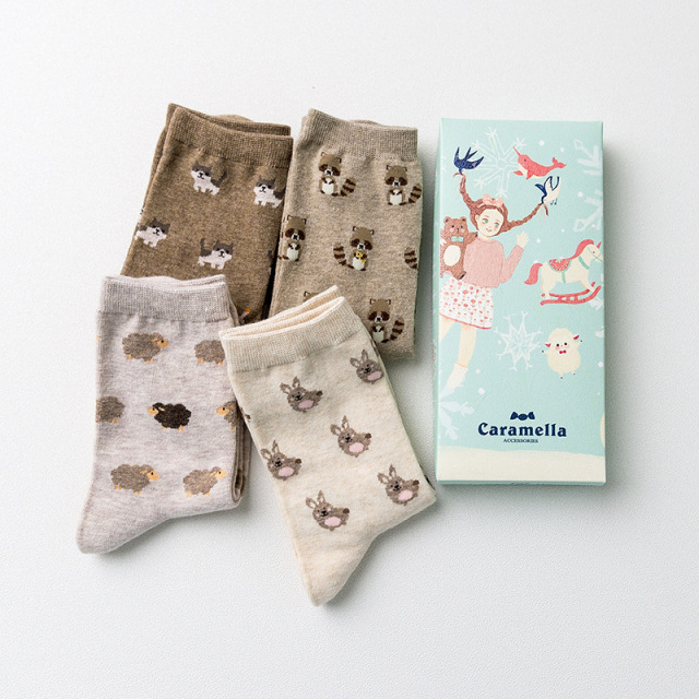 4 Pairs Cute Animal Print Cotton Socks