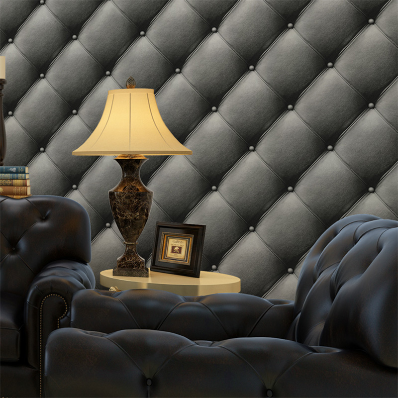 European Style Faux Leather Soft Package Wallpaper 3D TV