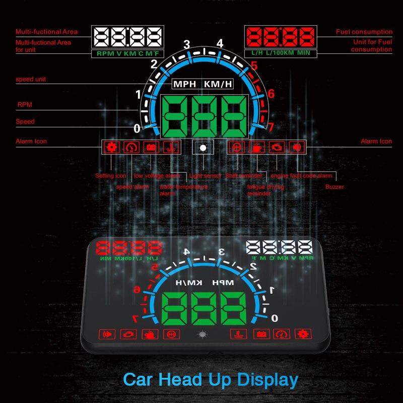 XYCING E350 OBD2 Head Up Display 5.8 pollice Car HUD Parabrezza Proiettore Del Veicolo di OBD Tachimetro Consumo di Carburante KM/H MPH Display