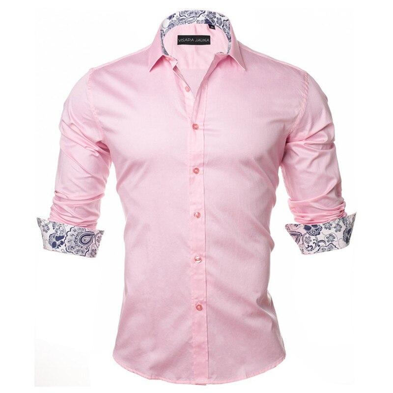 VISADA JAUNA Men's Shirt 2019 Fashion Casual Long Sleeve Solid 100% Cotton Slim Fit Dress Business Shirts Men Brand Clothing 5XL 3