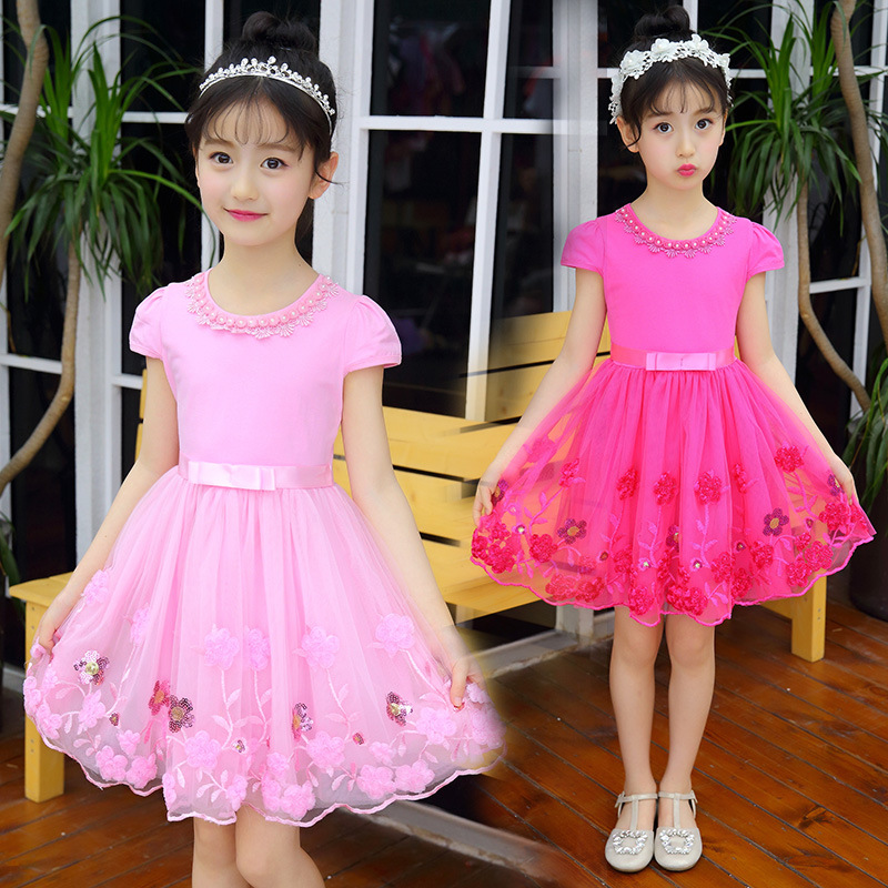 Summer Flower Girl Dresses Pink Purple Party Pageant Communion Dress Little Girls Kids Children Lace Mesh Vestido for Wedding brand new flower girl dresses white blue real party pageant communion dress little girls kids children dress for wedding