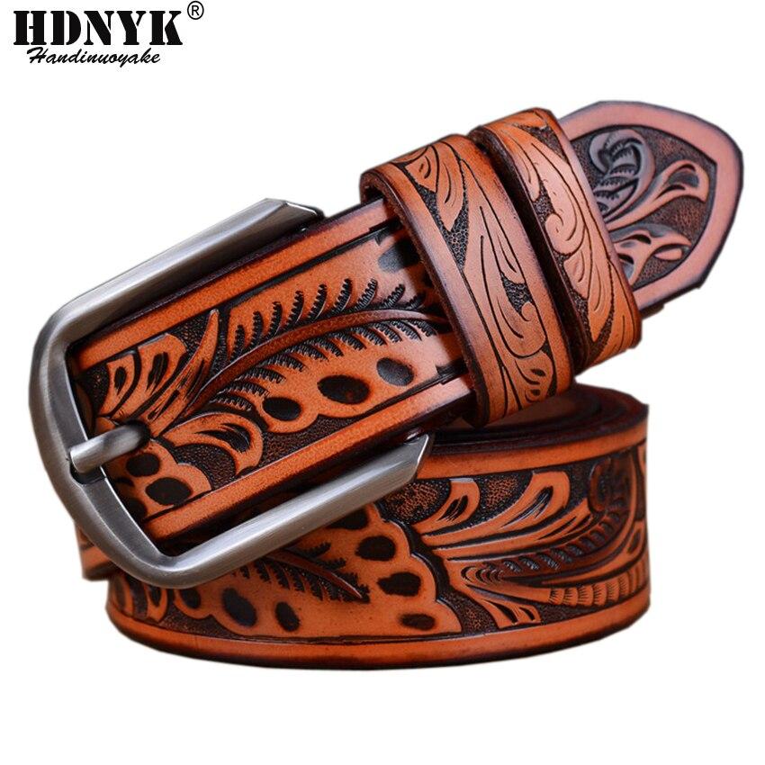 2018 Newest Men   Belt   Luxury Cowskin Leather   Belts   For Men Vintage Classic pin Buckle Alloy   Belts   Brown Drop shipping