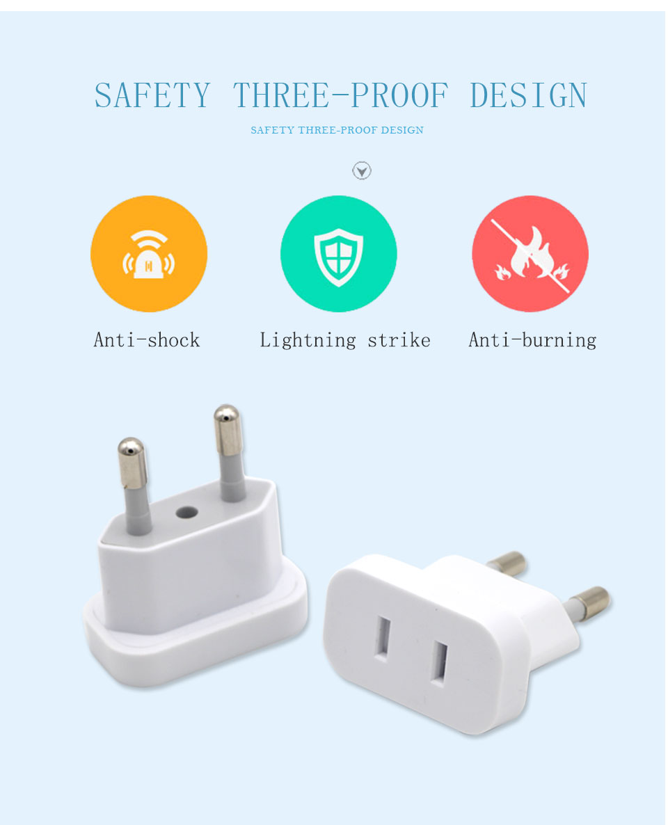 1PC US To EU Plug USA To Europe Travel Wall AC Power Plug Safety Door Design Charger Outlet Adapter Converter 2 Round Pin Socket (12)