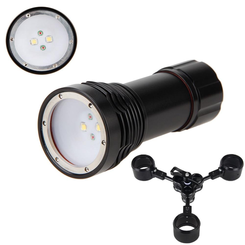 ФОТО Best Diving D32VR W38VR Wide Angle 1400 Lumens LED 3-Modes Flashlight Torch White CREE XM-L2 U2 LED *2 +  Red CREE XP-E N3 LED*2