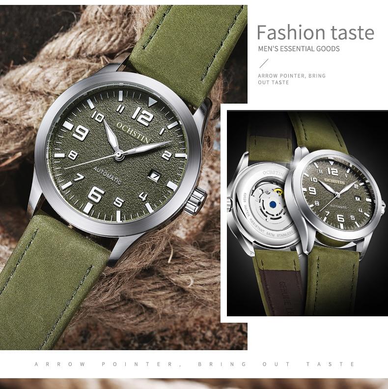 masculino relógio de pulso mecânico couro relógio masculino moda relogio
