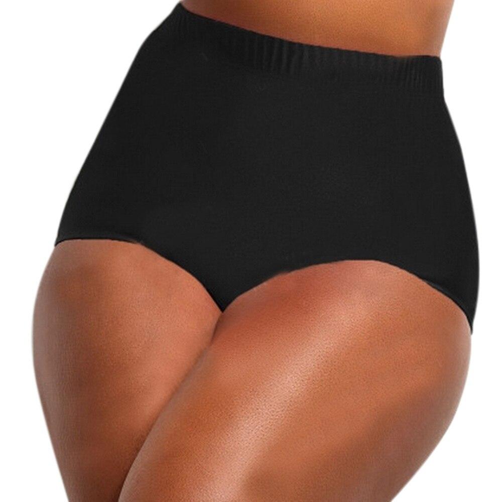 Female large size solid high waist swim trunks ladies high waisted bikini tankini bottoms swim briefs swimming pants bathing