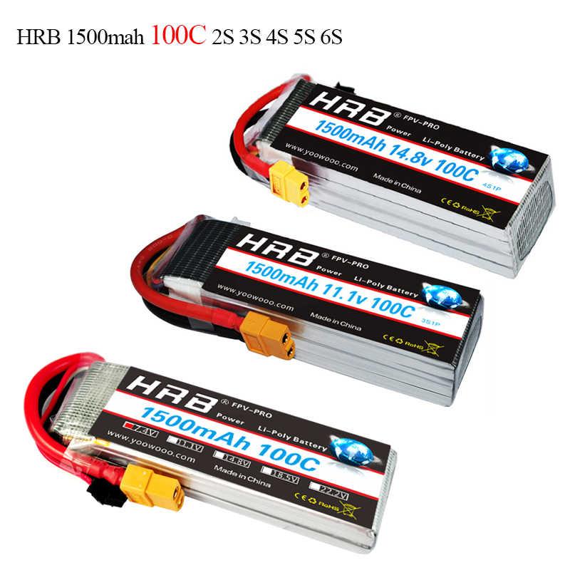 HRB высокая скорость Lipo батарея 2 S 3 S 4S 5S 6 S 7,4 В 11,1 В 14,8 в 18,5 в 22,2 в 1500 мАч 100C-200C для самолета FPV системы гоночный Дрон QAV 250 300