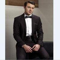 Custom Made Groomsmen Notch Lapel Groom Tuxedos Chocolate Men Suits Wedding Best Man (Jacket+Pants+girdle +bow Tie+Handkerchief)