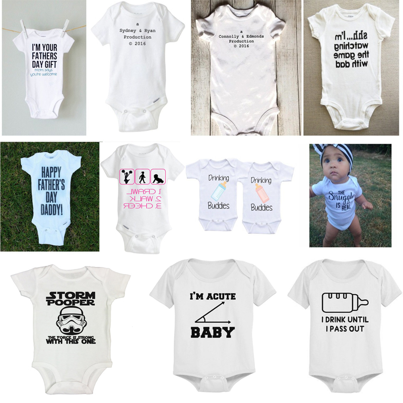 Funny Baby Bodysuits Newborn Summer Jumpsuit Hipster T-shirts White Onesie With Letters Unique Design Baby Outfits Ropa bebes X