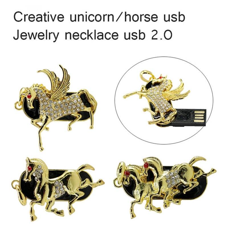 Новый металл, кристалл прекрасный единорог модель USB 2.0 Флеш накопитель 4 ГБ 8 ГБ 16 ГБ 32 ГБ Алмаз Лошадь карту флэш-памяти с интерфейсом USB флэш-...