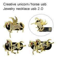 New Metal Crystal Lovely Unicorn model usb 2 0 pen drive 4GB 8GB 16GB 32GB diamond