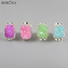 BOROSA 5Pcs New Silver Plating Rhinestone Paved Agates Druzy Band Ring Rainbow AB Electroplated Women Rings Jewelry JAB965