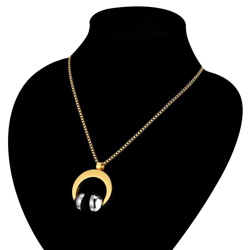 Hip Hop Jewelry Stainless Steel Music Headphone Pendant (4)
