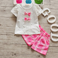 BibiCola 2017 toddler baby girls summer clothing sets children cotton 2pcs bow lattice clothes tracksuit sets girls summer set