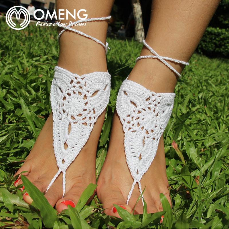 OMENG Crochet Hippie Barefoot Sandals Tan Barefoot sandles Beach Pool Nude shoes Foot jewelry Anklets OJL006