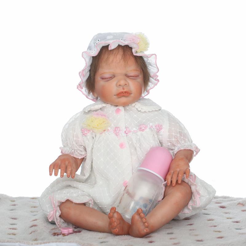 22Inches Soft Reborn Babies Sleeping Doll Vinyl Newborn Toys for Children's Birthday Gift,Realistic Baby Doll Girl Toy Boneca 25cm rabbit plush doll stuffed baby simulated babies sleeping dolls children toys birthday gift for babies 4 colors doll reborn