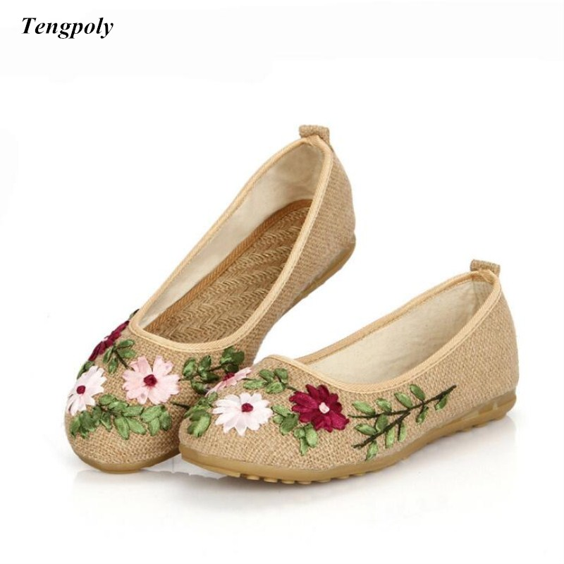 2018 The new size (35-40) China folk style embroidery linen cloth shoes old Beijing  lady all-match flat casual Women's shoes the little old lady in saint tropez