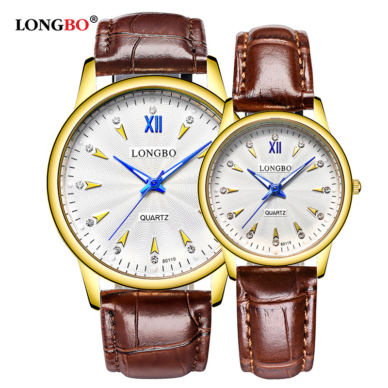 2018 LONGBO Luxury Quartz Business Dress Watch Casual Fashion Leather Watches Men Women Couple Lovers Gold Analog Wristwatches