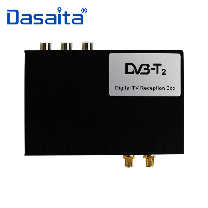 High Speed HD Car TV Tuner Mobile DVB-T T2 MPEG-4 Digital TV Receiver Box for Russia European with Dual Antennas