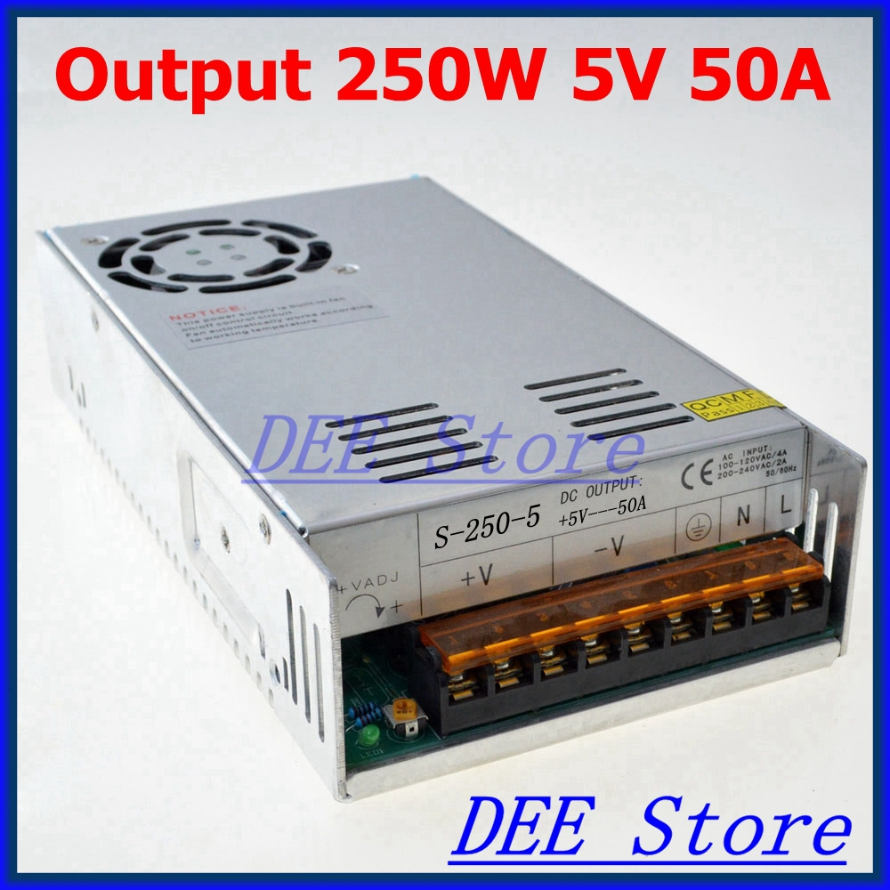 250W 5V(4.5V~5.5V) 50A Single Output Adjustable Switching power supply unit for LED Strip light Universal AC-DC Converter led driver 1200w 24v 0v 26 4v 50a single output switching power supply unit for led strip light universal ac dc converter