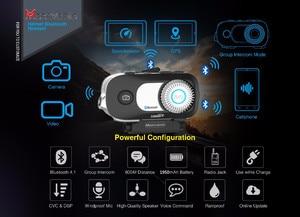 Image 2 - MORNYSTAR oreillette Bluetooth M1Pro, 2 pièces, appareil de communication pour 4 motocyclistes, interphone portée portée portée 800m, MP3, caméra enregistreur vidéo HD 1080P, kit mains libres