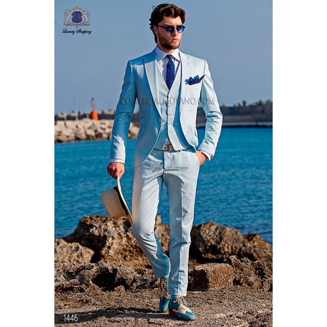 Men Summer Beach Blue Party Dress Suits Business Working Wedding Tuxedos For Groomsman Evening