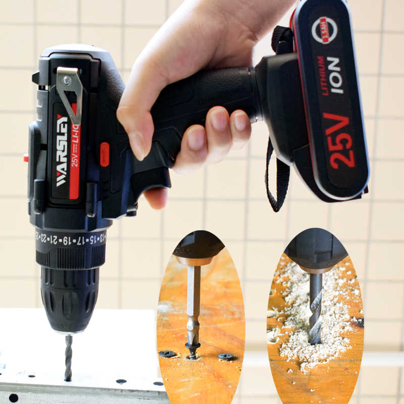 25V cordless electric screwdriver drill household lithium battery drill Screwdrivers with 2 batteries power tools