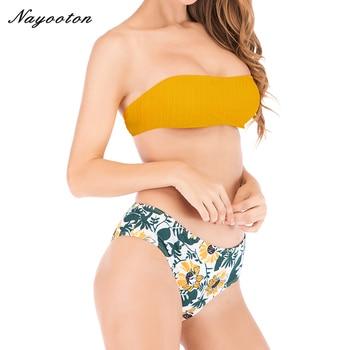 BIKINI hoge taille badpak push up Verpakt borst badmode vrouwen Tops effen kleur en bodems afdrukken bikini set Beach Wear baden
