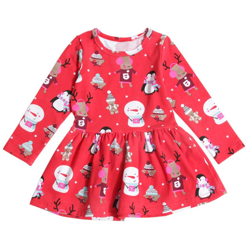 2018 Baby Girls Dresses Xmas New Year Party Princess Cartoon Print Pattern Cotton A Line Children Clothing In Red