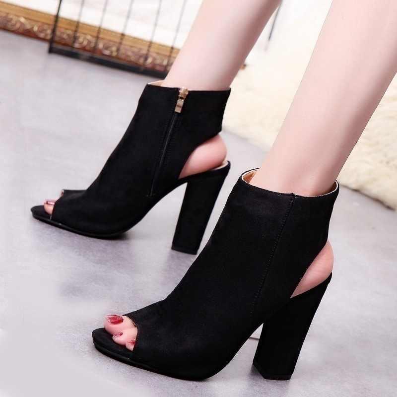 Yarım çizmeler Faux Süet Deri Rahat Açık Peep Toe Yüksek Topuklu Kadınlar Için Fermuar Moda kare kauçuk siyah ayakkabı Artı Boyutu 43