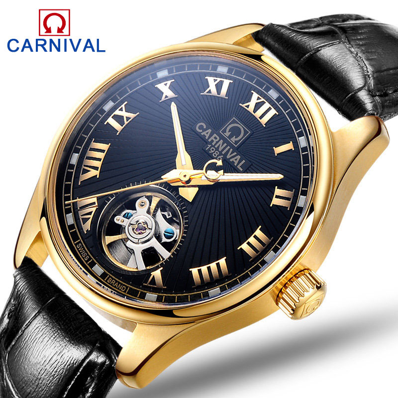 Carnival Top Brand Luxury Automatic Mechanical Watch Men Skeleton Hollow Fashion Leather Waterproof Mens Clock relogio masculino 2018 ailang sapphire automatic mechanical watch mens top brand luxury waterproof brown genuine leather watch relogio masculine