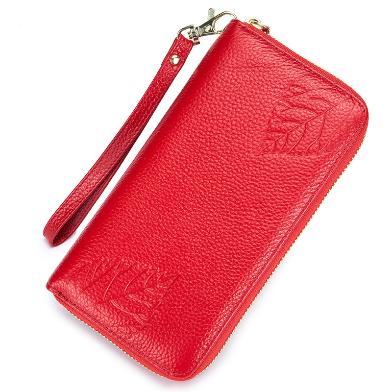 Uniego Genuine Leather Women Wallet Coin Purse Credit Card Holder RFID Flower Embossing Female Zipper Wallet Long Clutch DC339